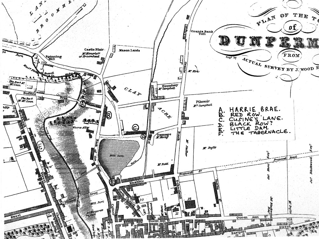 Part of the 1823 map of Dunfermline, showing the Black and Red Rows