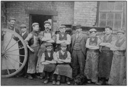 Photo C. 1890 – George Kay (in bowler hat) and staff, probably at New Row premises