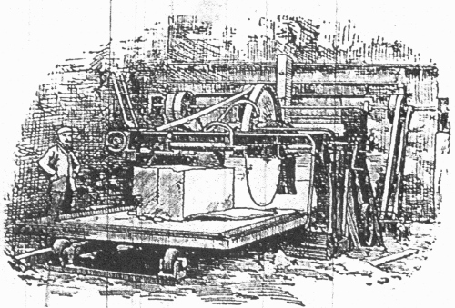 Drawing of the Anderson stone-cutting machine installed by James Stewart at Grantsbank in 1900