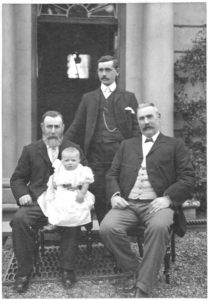 A unique photograph from around 1902 showing the firm's founder, James Stewart (right); his father, Charles Stewart (left), son, Charles Stewart (back) and grandson, James. The photo is almost certainly taken at the front of Headwell House, the Stewart family residence at that time and still in situ in 2017, on the north side of Headwell Road, Dunfermline.