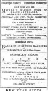 Adverts from Dunfermline Saturday press Dec 24th 1870