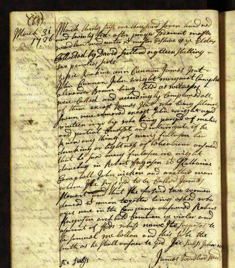 Extract from the Kirk Session Minutes for 31st March 1726