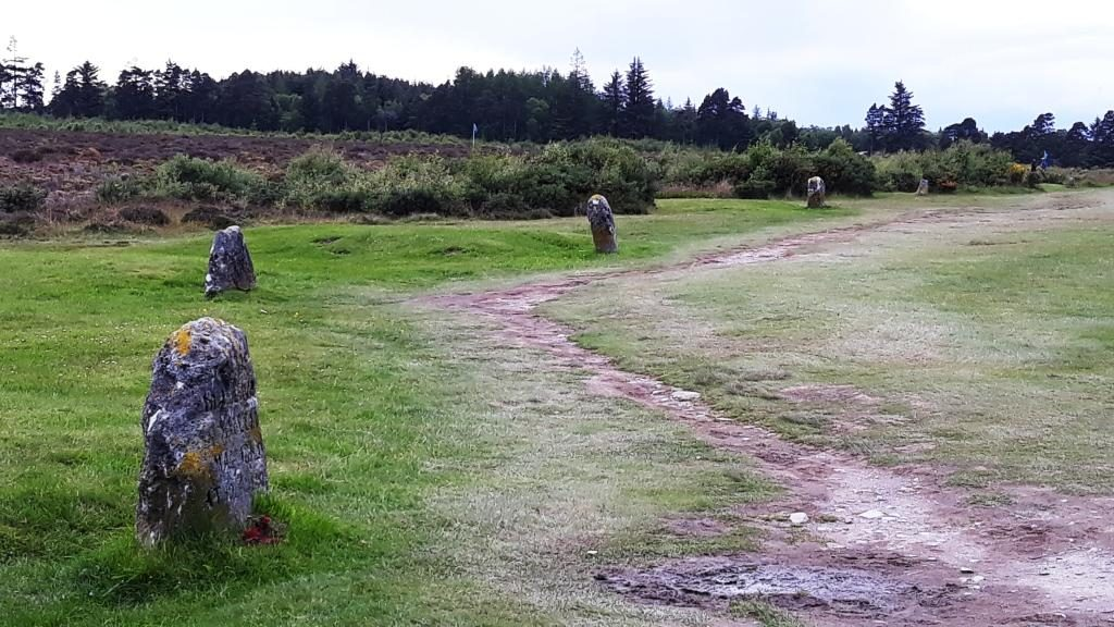 Photo of the clan grave markers at Culloden