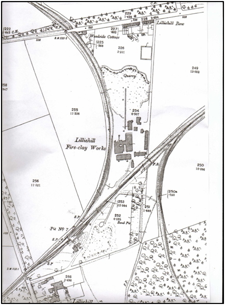 1896 O.S. Map showing location of Liliehill Works to the north/east of Townhill Village