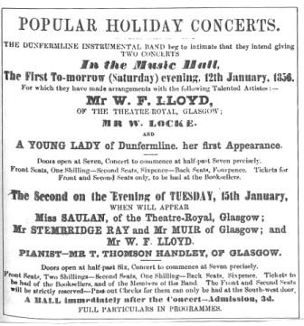 Concert Advert from the Dunfermline Journal, 11th Jan 1856