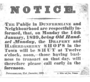 Poster advising of Business half days for Old Handsel Monday, 1838