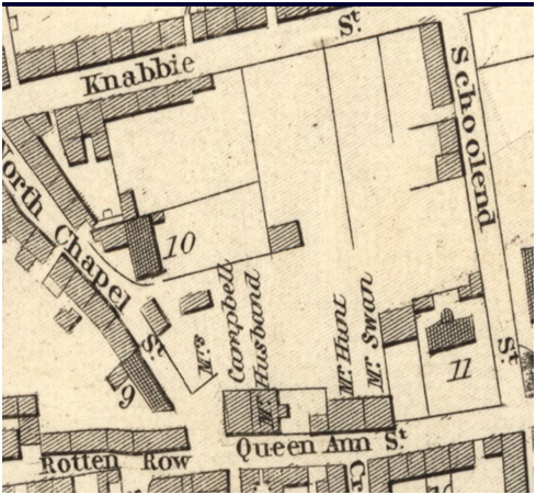 Excerpt from Wood's 1823 map of Dunfermline