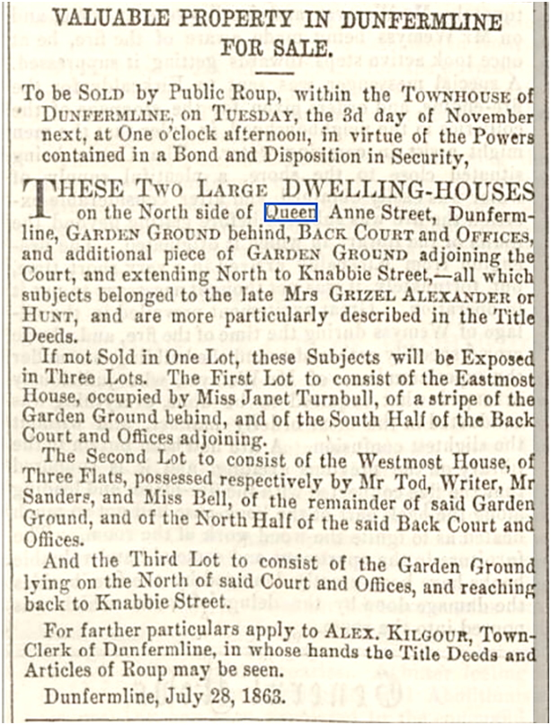 Advert from the Dunfermline Press