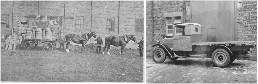 Photos of c. 1910 photo of an Elder's horse drawn lorry at the City Mill dressed up for an agricultural show with probably members of the Elder family at the rear and c. 1925 Elder's form of transport has moved on to a motor lorry.