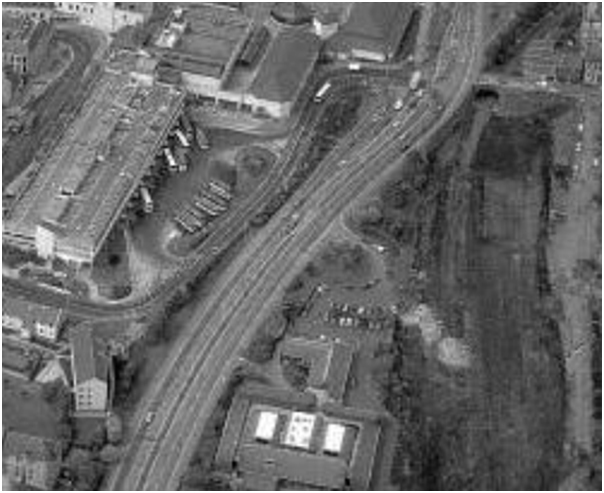 1980s Aerial View Showing the Multi-storey Car Park, the Bus Station, Carnegie Drive and the Site of the Upper Station