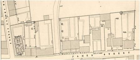 Part of the 1854 Ordnance Survey Plan of Dunfermline showing the six feus