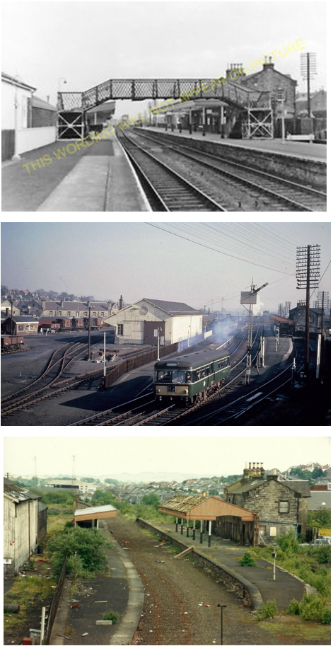 Three photos of the station, in use and disused