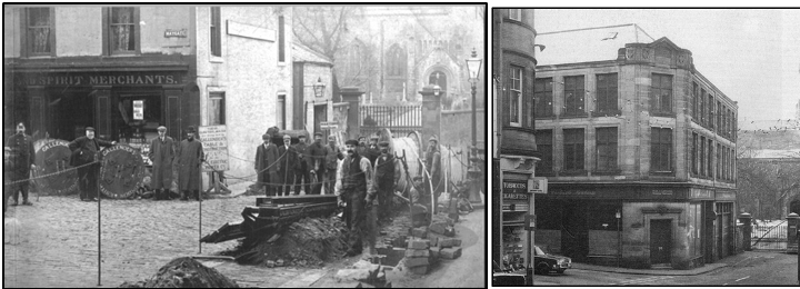 Photographs of the original Maygate premises c.1906 and new premises, built c.1910 but photographed c. 1960
