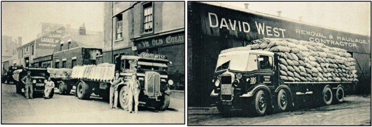 Photos of two of West's early lorries above, in Leith during the 1930s, with the small Bedford on the left being dwarfed by the AEC Mammoth and trailer on the right and, from c.1944, driver Jimmy Hynd's Albion eight-wheeler, fully hand-loaded with 16 tons of potatoes outside West's premises at Rumblingwell, Dunfermline.