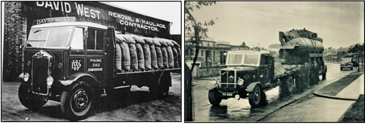 Photos of another of West's Albions at Rumblingwell loaded with 2 cwt sacks of grain – driver Pat Tierney and also of West's AEC low loader unit on Halbeath Road, opposite Hill's Laundry, loaded with a Royal Navy mini submarine which was taken around the country in World War 2 and displayed to raise funds for the war effort.