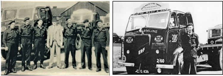 Two photos of David West and his drivers during the Second World War.