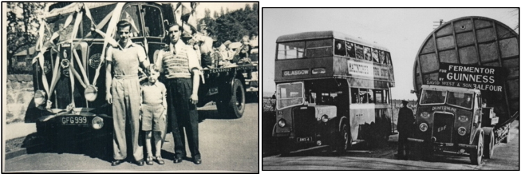 Photos of West's drivers Jimmy Hynd and Jimmy Dick with a young David West, grandson of the founder, at a 1950s Civic Week Parade in Dunfermline, and also one of West's low-loader units conveying an unusual load en-route from Balfour of Leven to Liverpool Docks for shipment to Dublin.