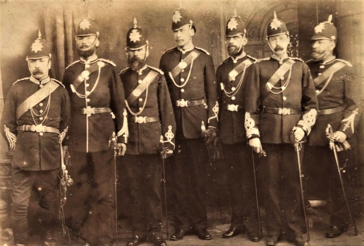 Photo of the officers of Dunfermline Volunteer Rifle Corps at the Queens Review held in Holyrood Park, Edinburgh on 25th August 1881. Captain Robertson is standing extreme right.