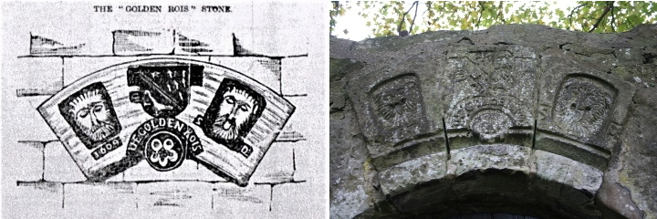 Copy of the 1859 sketch by George of the Golden Rose Stone. (Author's collection) and photo of The Golden Rose Stone inserted in the boundary wall of the former Robertson house. (Bert McEwan's collection)
