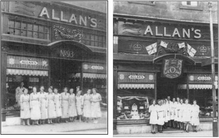 Photographs of Allan's shop and staff at 93 High Street c. 1930 and, probably Coronation Year, 1953