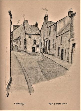 Adam Low's house at top of Cross Wynd. Sketch by Robert Somerville