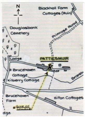 Sketch map of Pattiesmuir by James Renny. Courtesy of Charlestown, Limekilns and Pattiesmuir Community Council