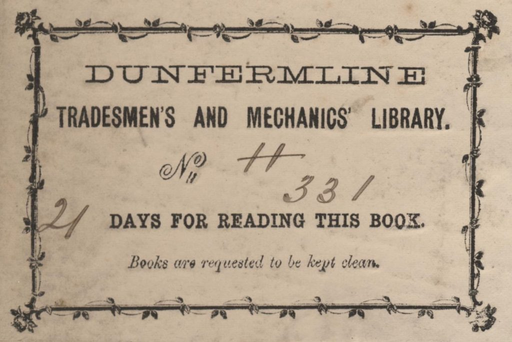 Photo of a Tradesmen's and Mechanics' Library bookplate. Courtesy of DCL&G