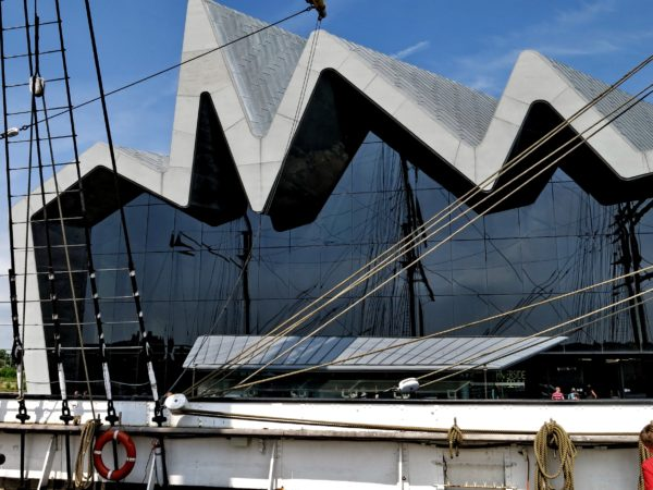 "The Riverside Museum from the deck of the ""Glenlee"""