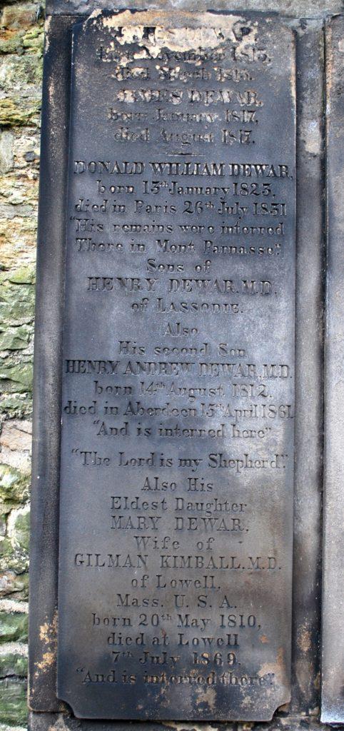 Photo of Henry Dewars's grave stone in St Cuthbert's Burial ground, Edinburgh