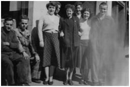 Photo of Goodall's staff 1947 - left to right:- Jimmy Brown (tyre man), 'Ginger' Buchanan, Anne Walker, Jimmy Jackson, Lorna Ramsey, John McEwan, Betty Stirling (Lumsden), & George McDonald
