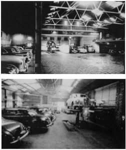 Photos C. 1955 – Upper - Goodall's Service Area, Lower - Goodall's Workshop with the Inglis Street entrance in the distance