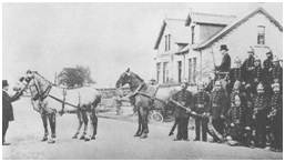 Photo C. 1905 - Dunfermline Fire Brigade with Goodall's Horses on Halbeath Road at Garvockhill Junction.