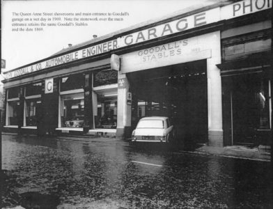 Photo of the Queen Anne Street entrance to the garage in 1969