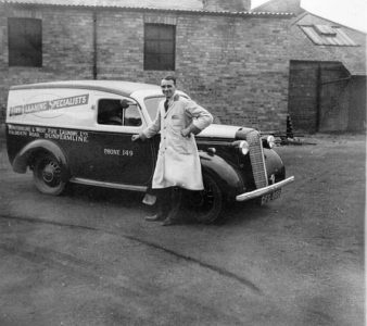 Photo of Guy Thomson with Bedford Delivery Van c. 1950