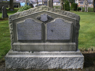 The gravestone of Daniel Thomson and his wife Janet Wishart in the Dunfermline Cemetery