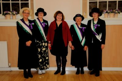 Photo of Pamela Macleod, Lindsey Fowell, Prof. Pedersen, Jean Barclay and Elaine Campbell dressed in Suffragette colours