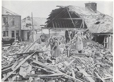 Photo of bomb damaged buildings, in Main Street, Kingseat