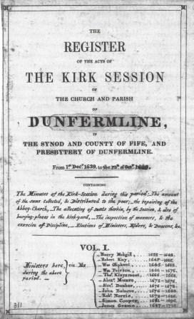 Frontispiece of Dunfermline Kirk Session Minutes