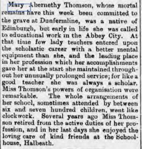 Image of a cutting of Mary Thomson's obituary from the Aberdeen Journal