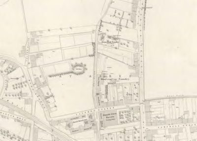 Ordnance Survey Map of 1854 showing location of the Foundry in Dunfermline