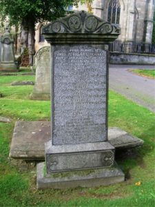 Photo of John McChlery's tombstone in the Abbey Churchyard