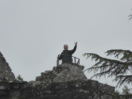 Photo of a DHS member at the top of the Abbey tower