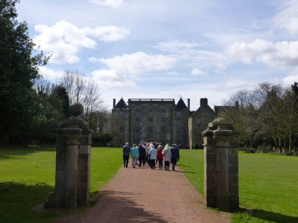 The first group heading to Kinneil House