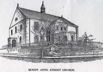 Engraving showing the Lassodie Fountain at the corner of the Queen Anne St Church