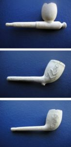 Photos of three examples of Richmond's clay pipes which can be seen in Dunfermline Museum