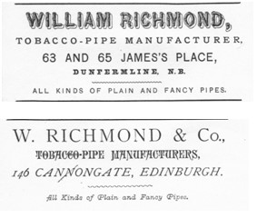The above adverts appeared in the Fife Trades Directory of 1888-89, the lower of which probably relates to Mr Richmond's father's business in Canongate, Edinburgh