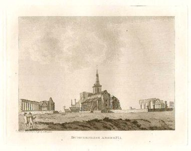 Dunfermline Abbey before reconstruction, from a drawing in 1797 by Francis Grose.
