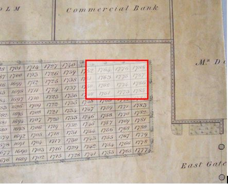 Part Of the Unused Burial Plot on the Plan Referred to by the Heritors Showing the Site of the Toolhouse Plan courtesy of Dunfermline Local History Library