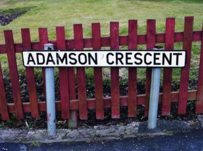 "Street sign ""Adamson Crescent"" in Dunfermline"