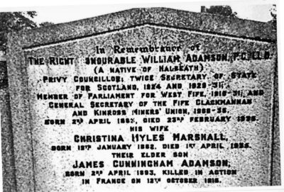 Photo of William Adamson's gravestone in Dunfermline Cemetry